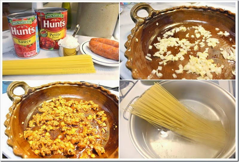Pasta with Chorizo and Tomato Sauce   Instructions step by step