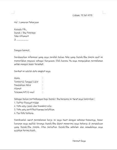 Contoh Surat Lamaran Pekerjaan Ke Alfamart Maca Zone Seru