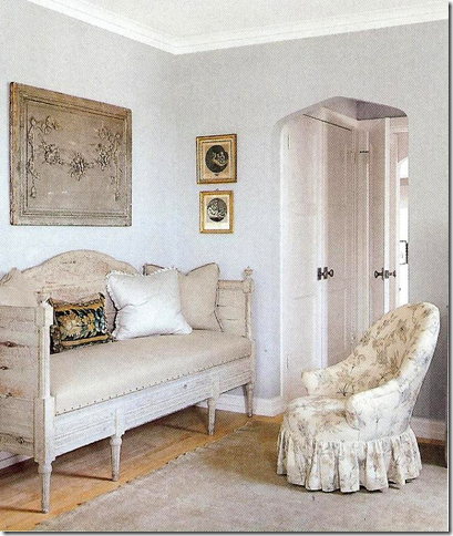 Swedish settee. European Country Interior Design by Jane Moore