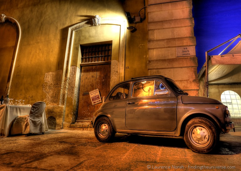 car back street restaurant italy fiat