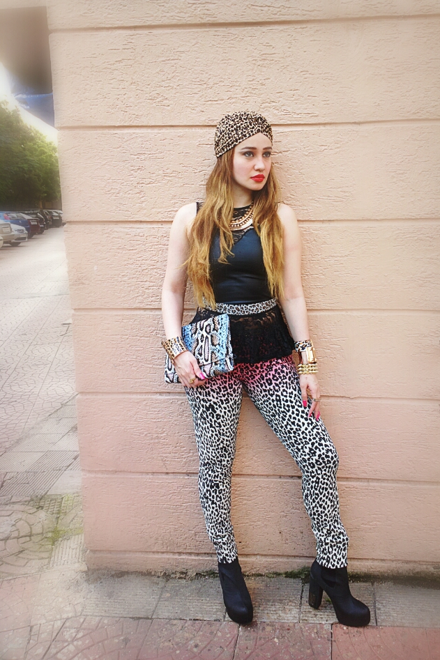 forever 21 leopard print ombré skinny jeans & Leather Peplum Top