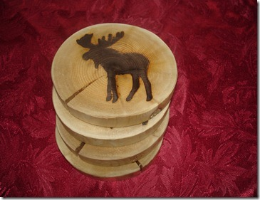 burned image of moose on wooden diy coaster