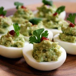 Easy Guacamole Deviled Eggs.