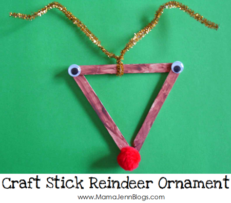 Craft Stick Reindeer Christmas Ornament