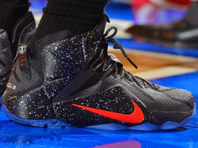 the latest f3430 83f11 LBJ Debuts Speckled Black amp Red Nike LeBron 12 PE at MSG ...