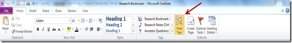 OneNote for Genealogy Research Find Tags