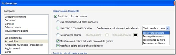 Adobe Reader Preferenze Opzioni colori documento