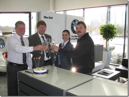 Phil Brown (Sales Director), Barry Holt (Dealer Principal), Alison Needham (Regional Finance Manager), Neil Edge (Master Technician)