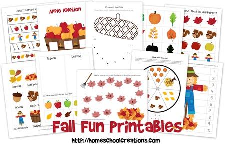 Fall Fun Printables collage