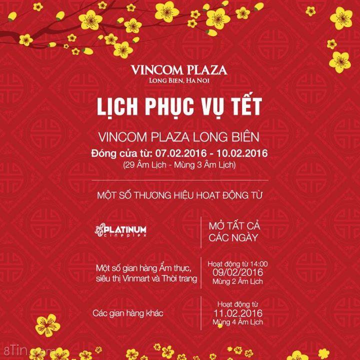 Vincom Plaza Long Biên xin thông báo lịch nghỉ Tết Nguyên Đán như sau: