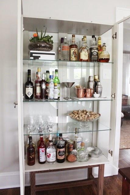 Dining Room Reveal Liquor Cabinet Open