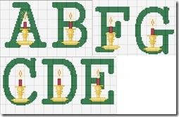 punto de cruz abecedarios letras con adornos navidad