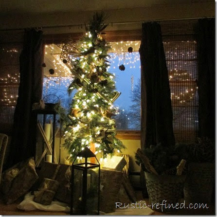 Decorating Skinny trees in a Rustic -Woodsy Theme  - Christmas Holiday Decorating Review Blog Hop