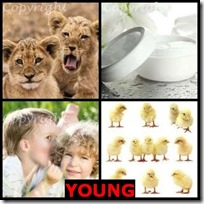 YOUNG- 4 Pics 1 Word Answers 3 Letters