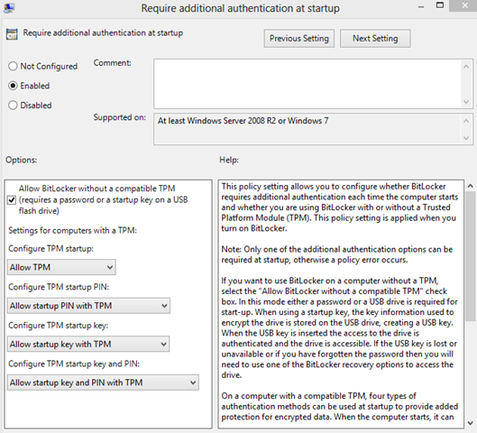 superedge net: How to Enable Bitlocker for Windows 8 without TPM