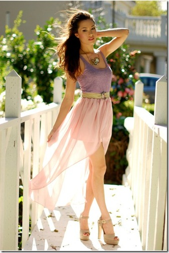 Asymmetric blush skirt