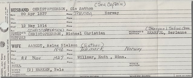 Christopherson, Ole Anthon - Family Group Sheet