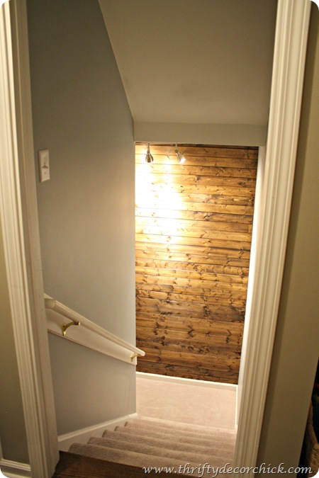DIY wood planked wall dark stain