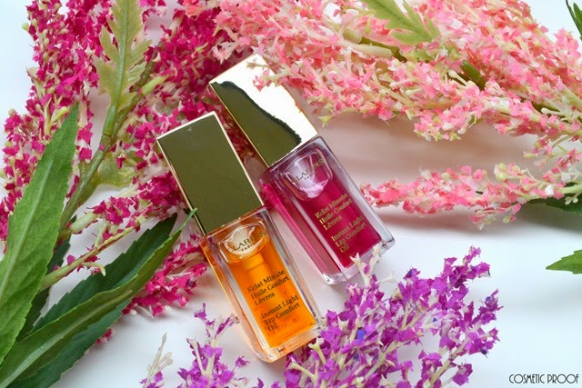 Clarins Spring Makeup Collection 2015 Instant Light Lip Comfort Oil in Raspberry and Honey Review Swatches