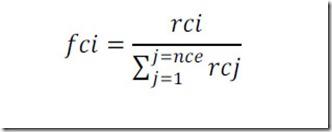Formula matemática para calcular el factor de corrección de cada criterio