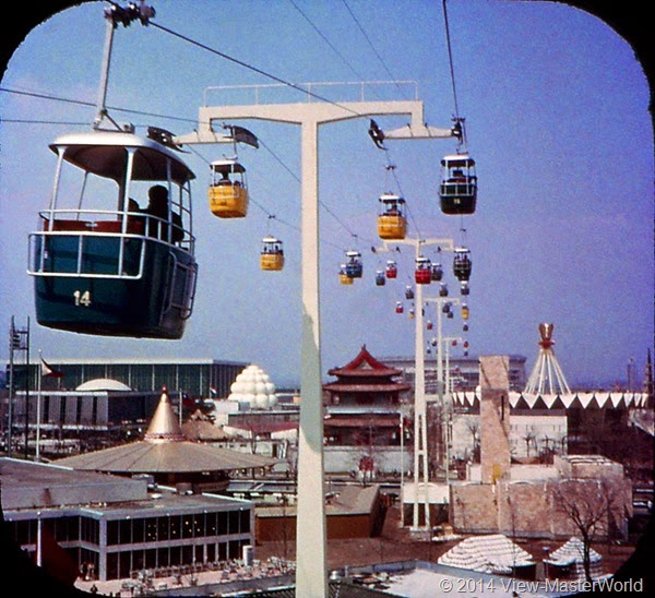 View-Master New York World's Fair 1964-1965 (A671),Scene 16 Swiss Sky Ride and the International Area