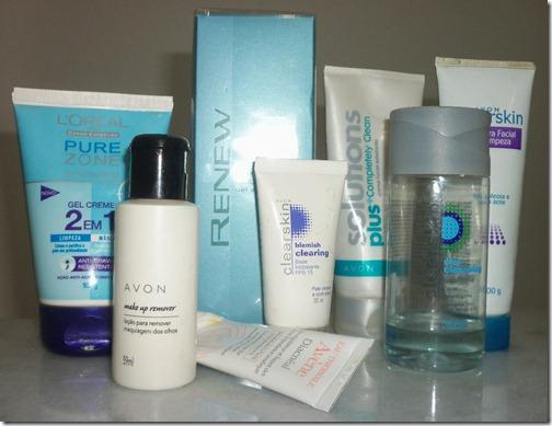 Alguns dos produtos que uso no rosto