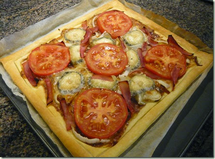 tomato, ham and goat's cheese tart