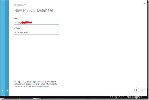 Wordpress blog mysql database creationg windows azure