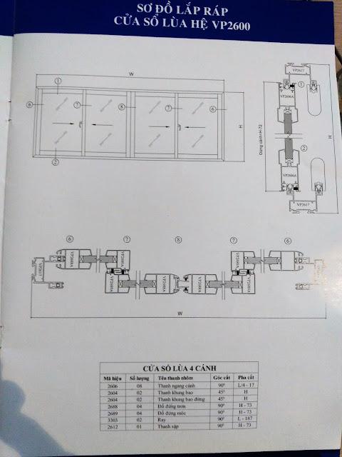 Kết cấu cửa sổ lùa hệ 2600-02