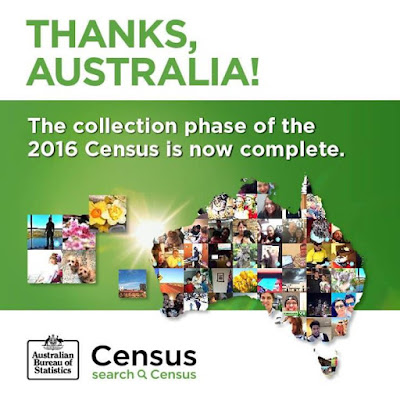Thanks Australia The formal collection period for the 2016 Census is complete