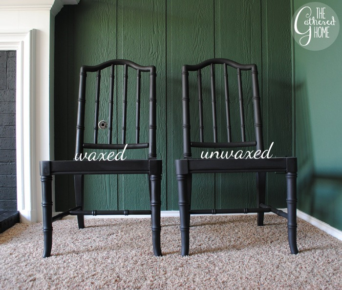 waxed and unwaxed chair finish comparison