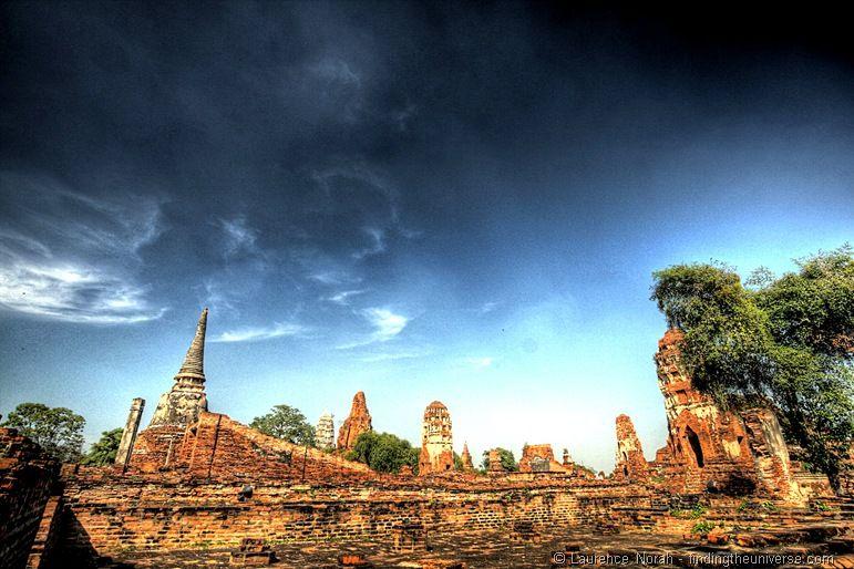 Wat Mahathat ruins temple skyline Ayutthaya thailand 2