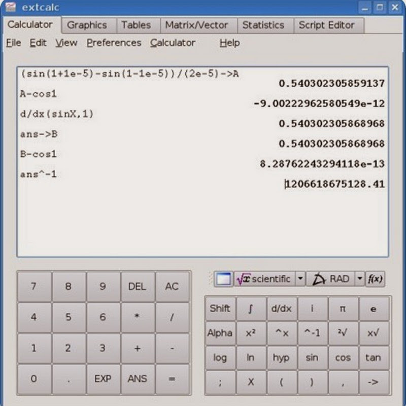 Concalc is a calculator for the Linux console.