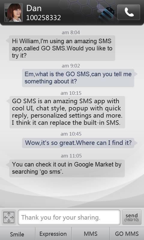 GO SMS Pro simple dark theme - screenshot