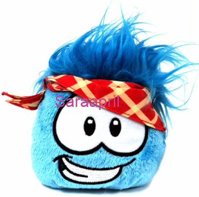Blue Plush Puffle with Plaid Bandana :)