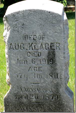 8月Klager的妻子的严重标记,1919年去世。