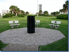 7165 Texas, South Padre Island - eight-sided memorial to those who lost their lives in the collapse of the Queen Isabella Causeway and 3 benches for the survivors