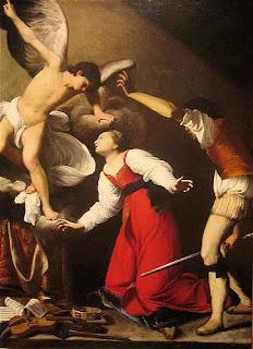 """Bức """"The Martyrdom of St Cecilia"""" của họa sĩ Carlo Saraceni vẽ năm 1610, mô tả cảnh Thánh nữ bị bức hại."""