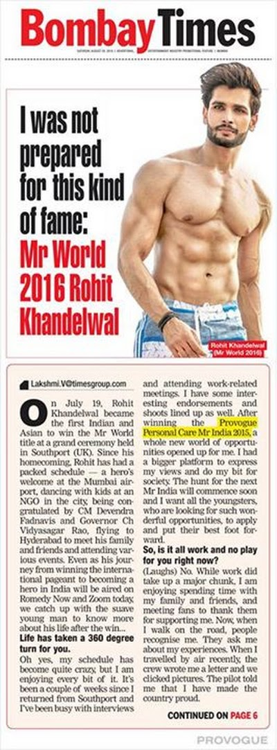 PROVOGUE salutes Rohit Khandelwal India's first Mr World 2016