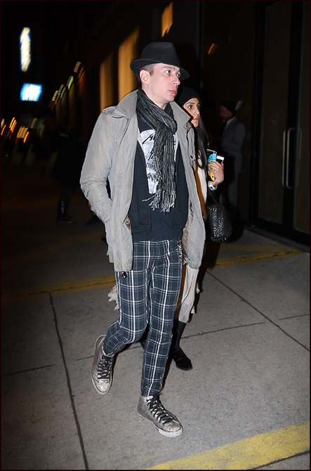 6 mw blue-grey plaid pants grey short trench grey scarf black fedora silver varvatos high top converse ol
