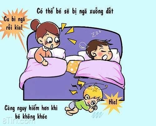 Bố mẹ lưu ý khi cho con ngủ chung nhé. Rất nhiều