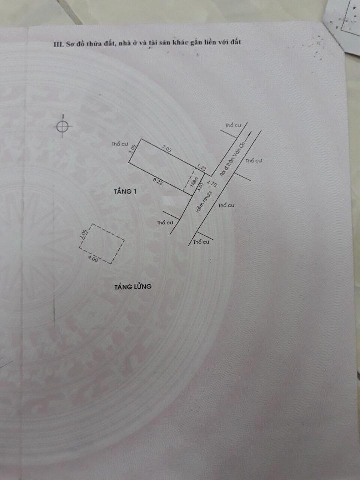 Bán nhà hẻm đường Trần Văn Ơn Quận Tân Phú, diện tích 3,08mx9m, 1 trệt 1 lầu, giá 2,35 tỷ.3