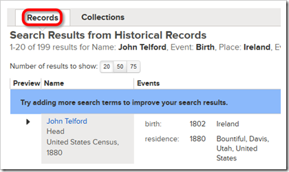 这records tab列出匹配记录。