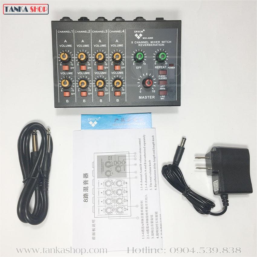 Bàn trộn âm thanh 4 cổng Mixer mini MIX-428E