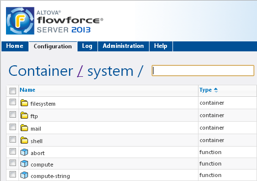 Altova FlowForce Server system containers