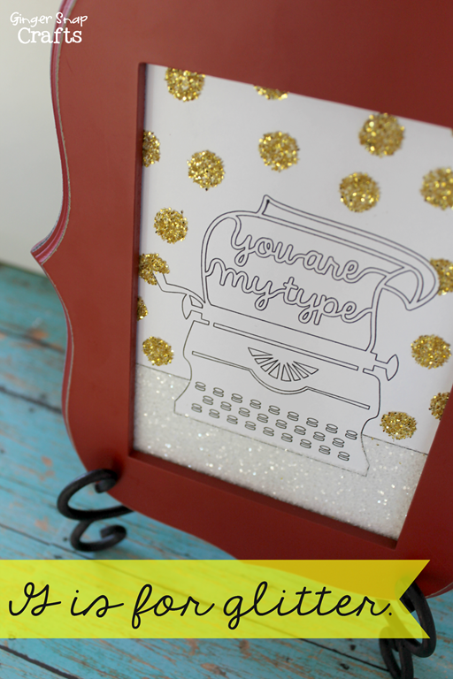 Glitter Sign with Silhouette Sketch Pens & Double Sided Adhesive at GingerSnapCrafts.com #glitter #gingersnapcrafts