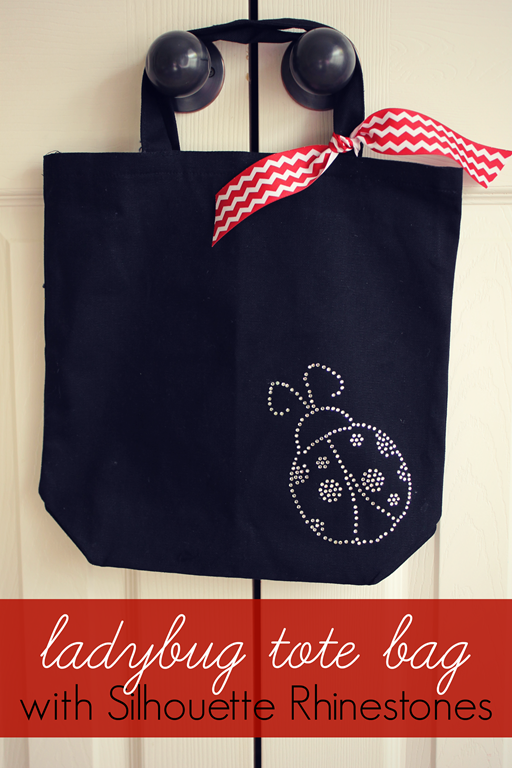 Ladybug Tote Bag with Silhouette Rhinestones at GingerSnapCrafts.com