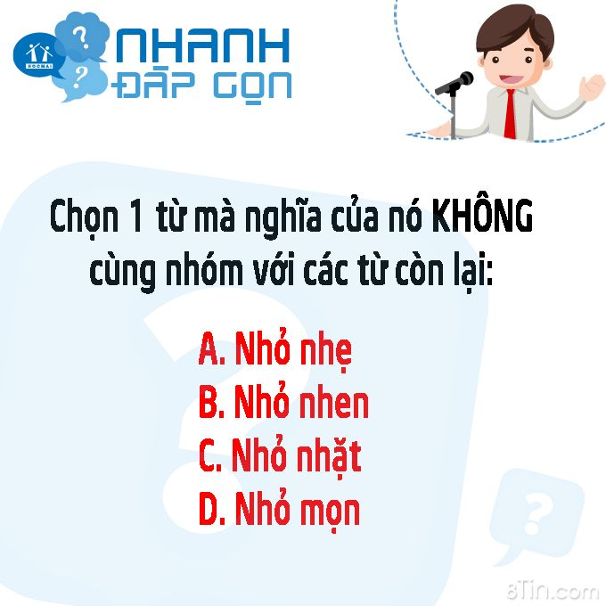 #hoinhanhdapgon Theo các mem, từ nào đang là từ KHÔNG cùng nhóm