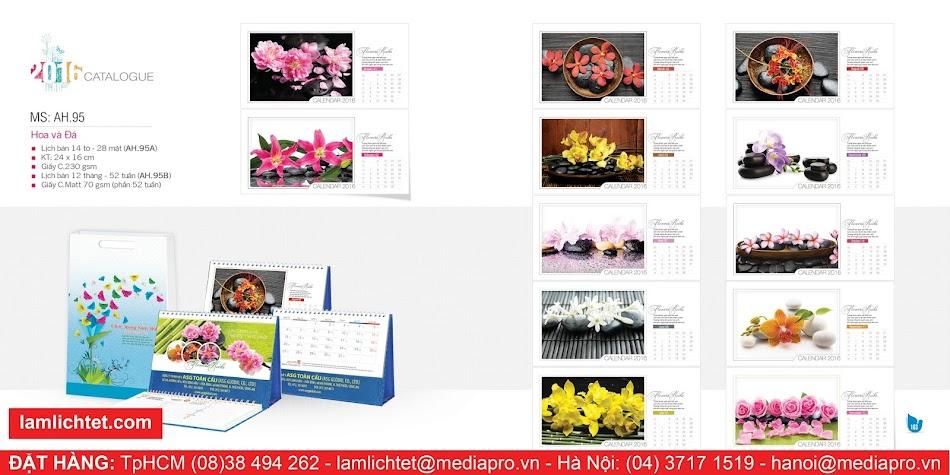 In Lịch Để Bàn Đẹp,TpHCM Hà Nội, Mẫu Lịch Bàn AH95 Hoa Và Đá