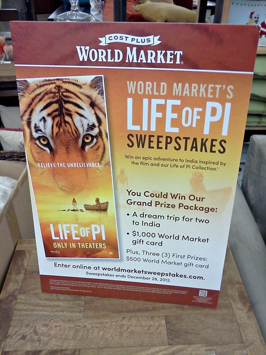 World Market's Life of Pi Sweepstakes